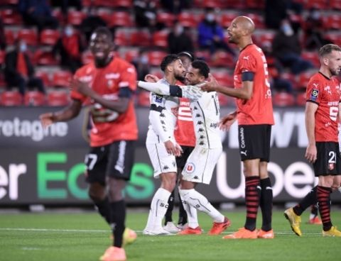 Sofiane Boufal celebrates after scoring for Angers at Rennes